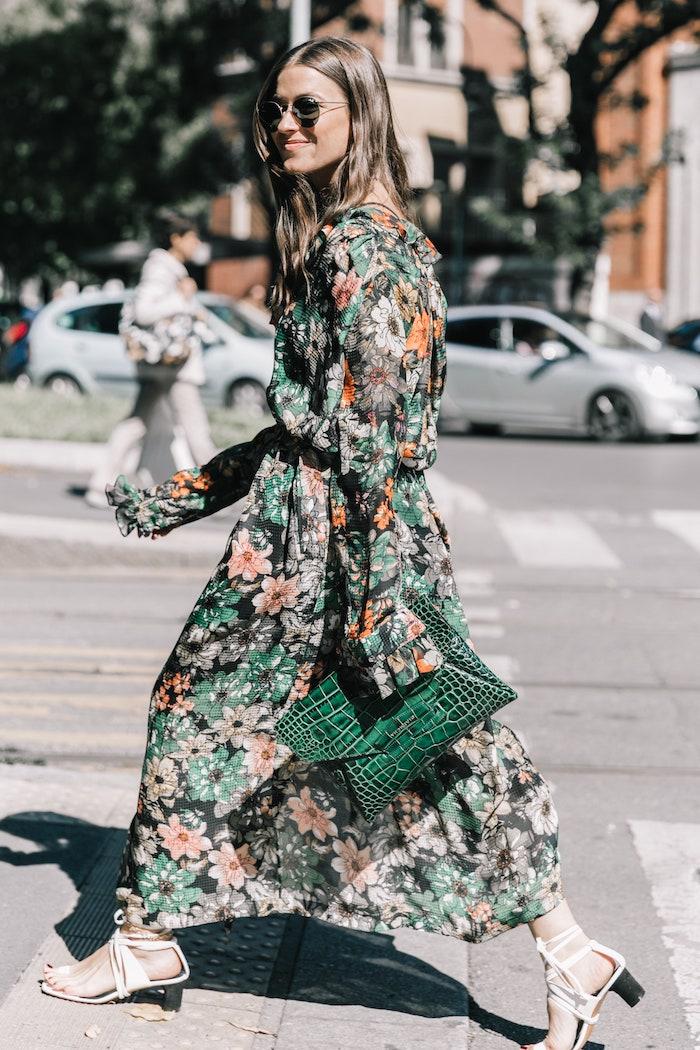 robes longues d été fleuries sac à main de cuir de crocodile vert