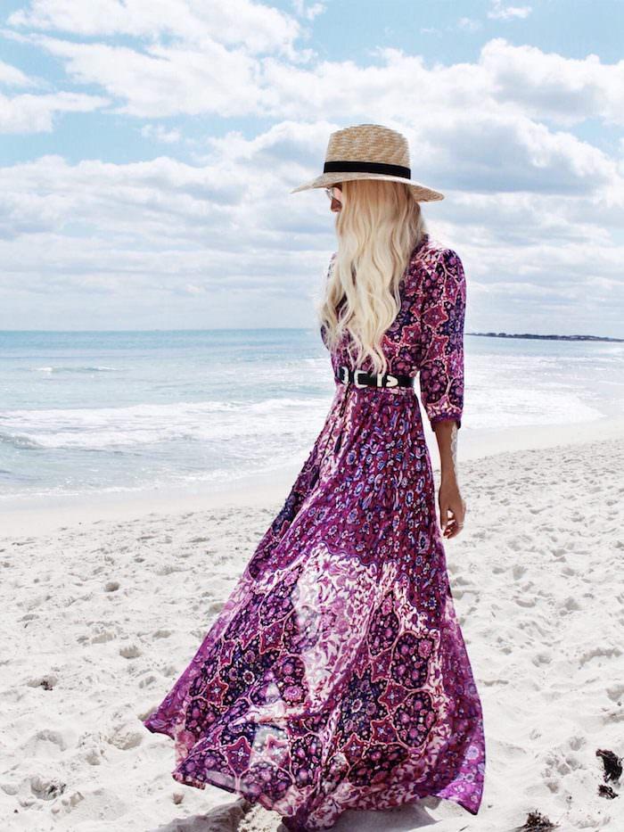 robes longues d été violette à fleurs ceinturée capeline en beige et noir