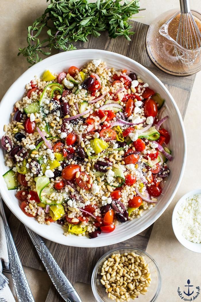 salade grecque couscous concombre tomates olives oignon