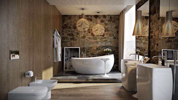 salle de bain bois et pierre en beige et blanc mur en bois et un autre en pierre