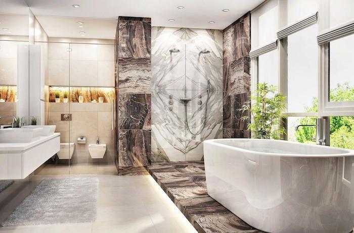 salle de bain en pierre de marbre en gris et cacao évier et baignoire en faïance