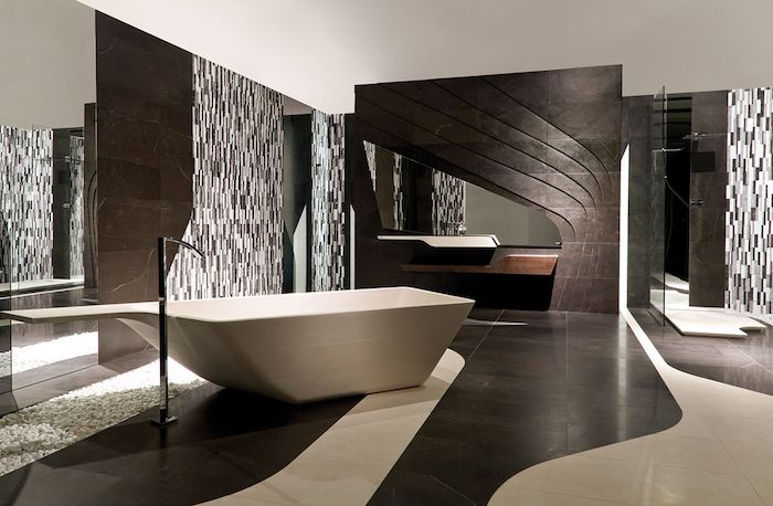 salle de bain moderne de luxe en beige et cacao baignoire de type balnéo