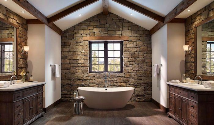 salle de bain pierre naturelle et bois murs en blancs meubles sous évier en bois