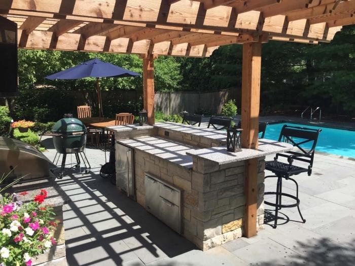 table a manger extérieure bois grill amenagement autour d une piscine parasol pergola bar pierre inox cuisine d'été avec piscine