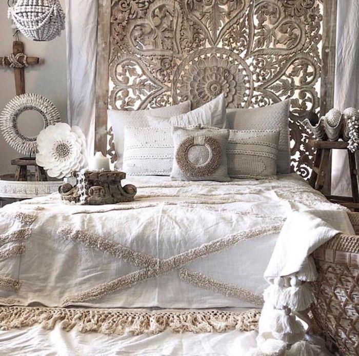 tete de lit bohème en macramé linge en blanc et beige éléments déco stylés