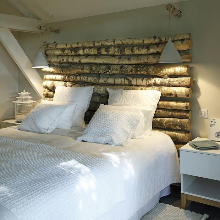 tete de lit bois flotté en bois style epure linge de lit blanc tables de nuit blanches