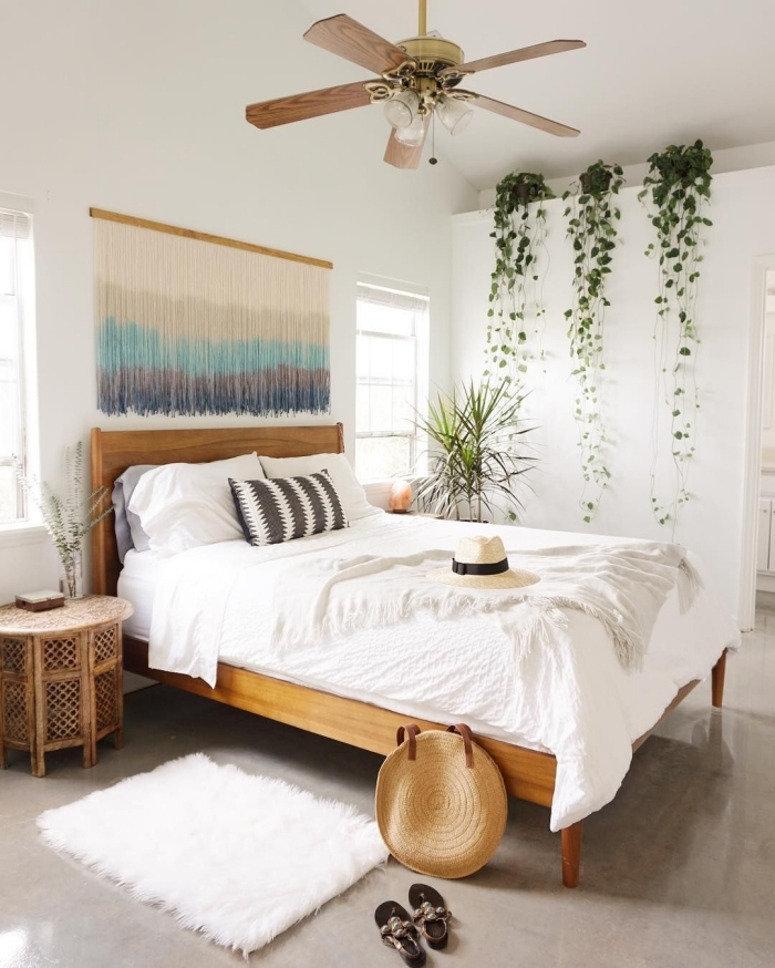 tete de lit bois ventilateur de plafond plante interieur retombante suspension fil ombré diy