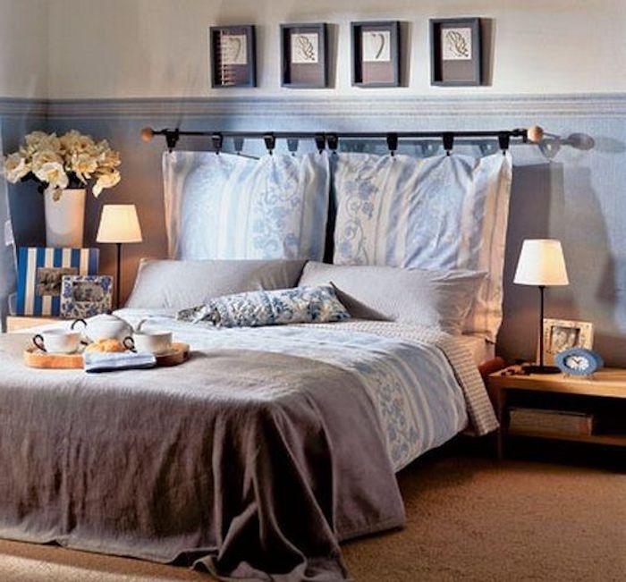 tete de lit coussin suspendu diy coussins et couvertures en blanc et bleu couverture marron murs en blanc et bleu