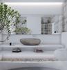 vasque en pierre naturelle grise salle de bain toute en blanc mur en travertin arbre en deco