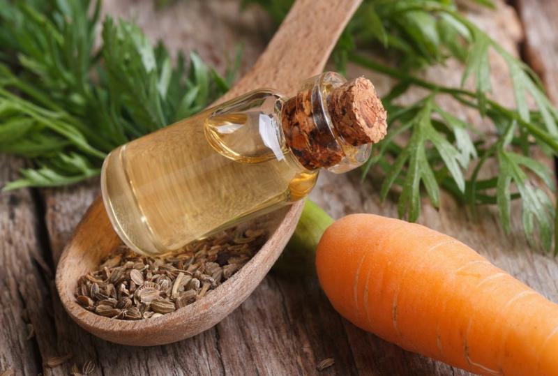 activateur de bronzage huile végétale de carotte avec une carotte