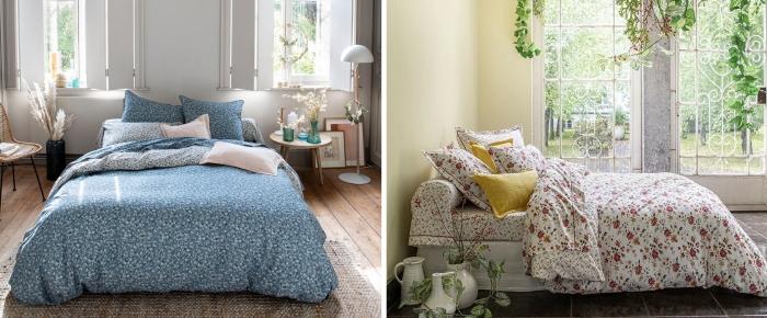 aménagement chambre a coucher linge de lit parquet bois chaise rotin et métal