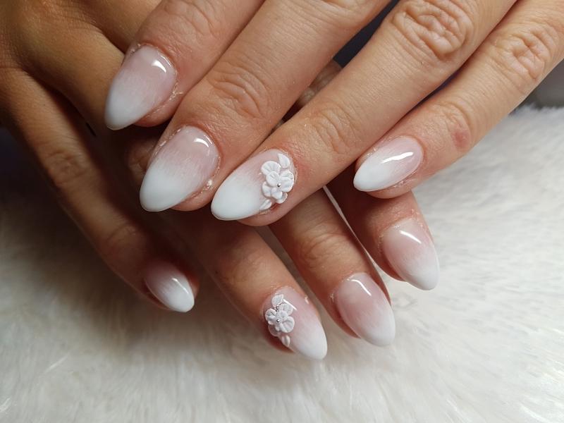 baby boomer deco acrylique 3d fleur manucure mariage ombré blanc rose