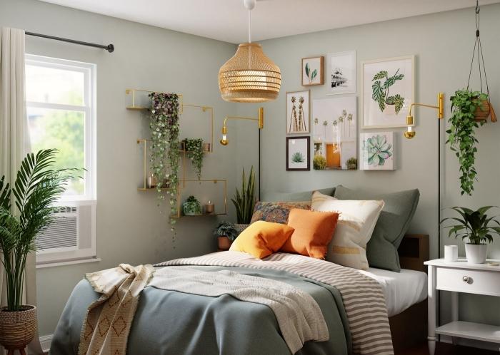 boho chic intérieur climatiseur fenetre plante verte intérieur cache pot fibre végétale rideaux blancs