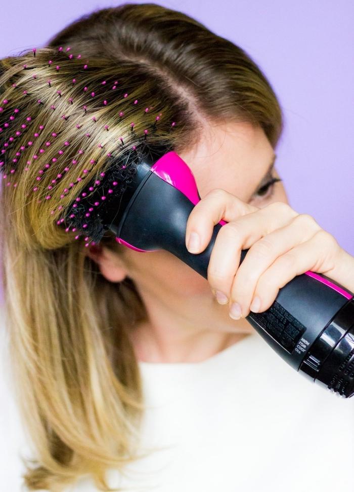 brosse ronde séche cheveux coloration tendance ombré racines foncée comment faire un brushing