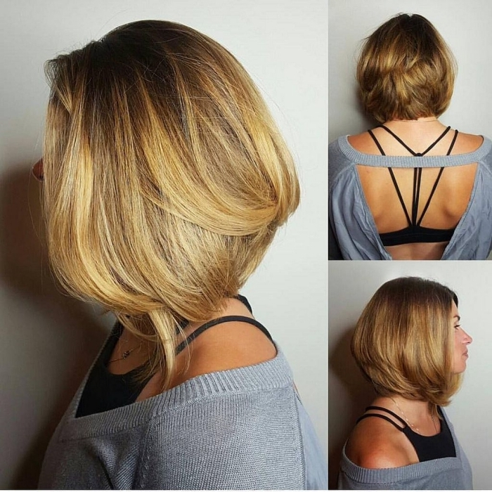 brushing pour femme carré dégradé plongeant coloration longueurs éclaircies technique cheveux lisse