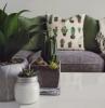 canapé de qualité en gris foncé coussins en vert bouteille et blanc déco de plantes vertes