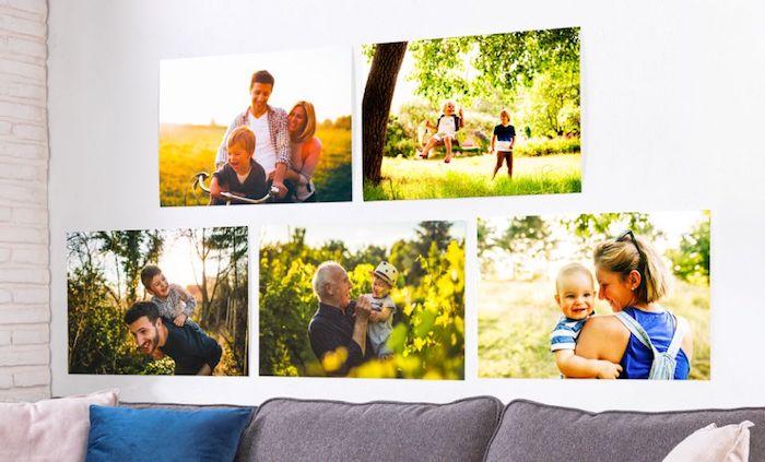 collage de photos de famille sur le mur blanc déco murale personnalisée