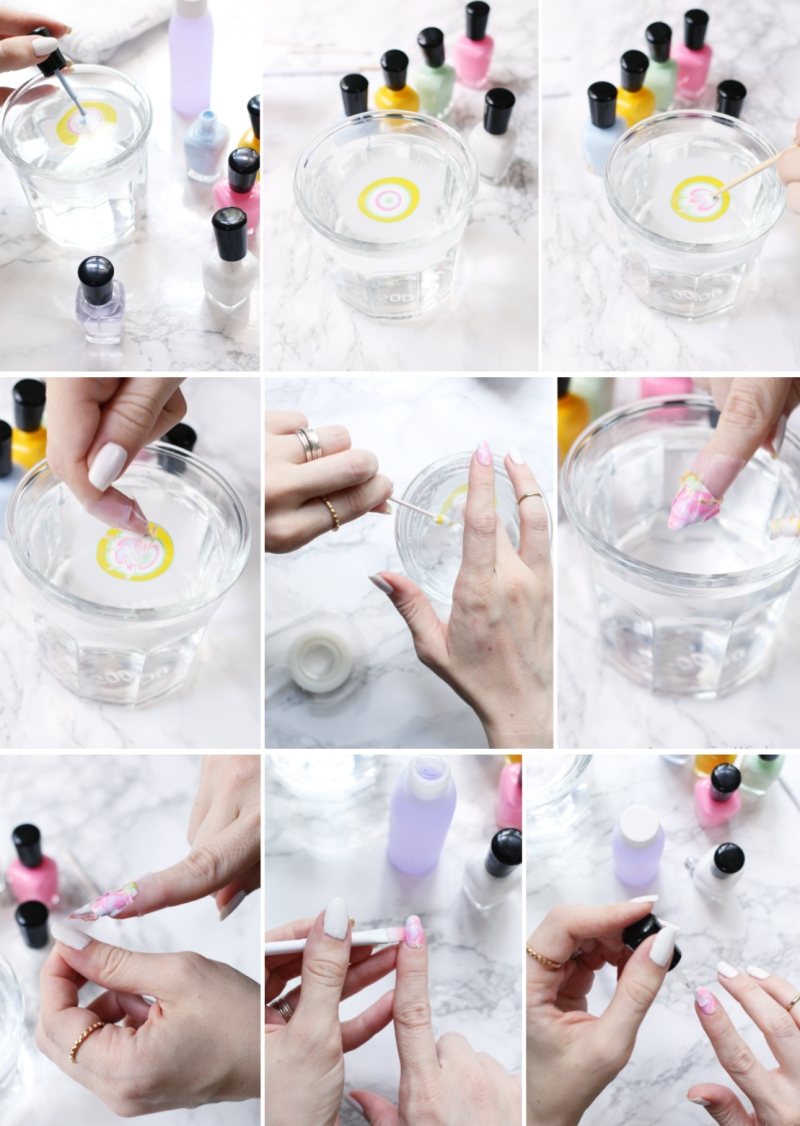 comment faire manucure marbre facile tuto ongles eau vernis marbre