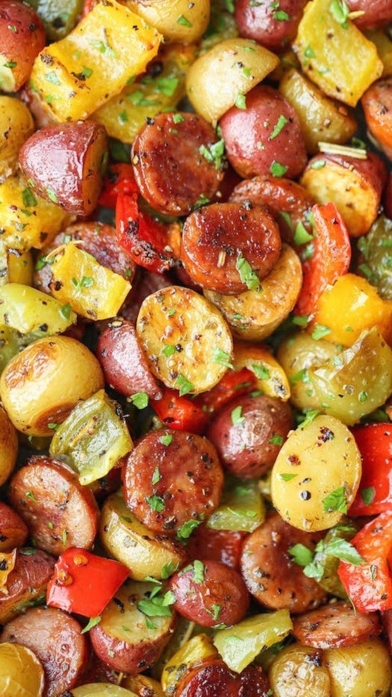 cuisson patate et pomme de terre aux herbes et poivrons