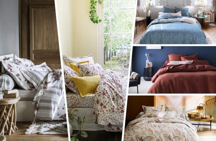 décoration chambre rustique meuble bois linge de lit motifs fleuris couleur terracotta