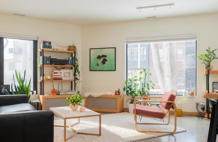 décoration salon climatisation centrale canapé noir meuble rangement vertical étagère bois plante d intérieur