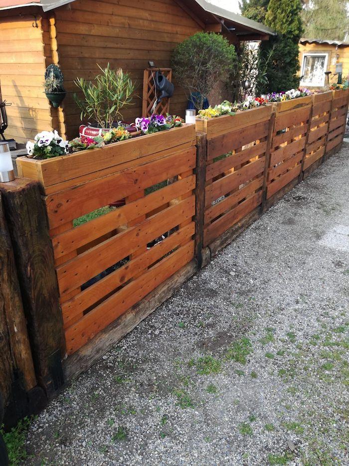 deco jardin recup naturelle idée jardinière brise vue originale
