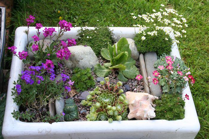 decorer son jardin avec recup évier recyclé jardinière diy originale