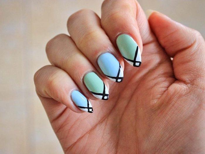 dessin sur ongle en gel couleur ete facile nail art maison traits géométriques couleur vert menthe