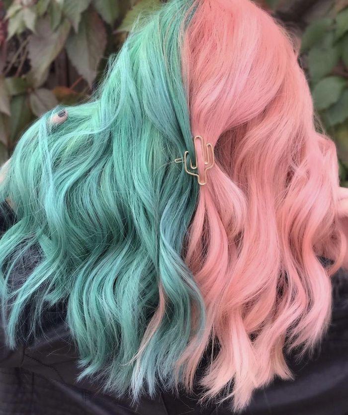 exemple de coloration cheveux moitié rose moitié vert couleur cheveux tendance 2021
