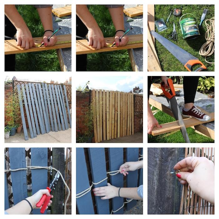exemple de palissade jardin de bois peint noué avec corde