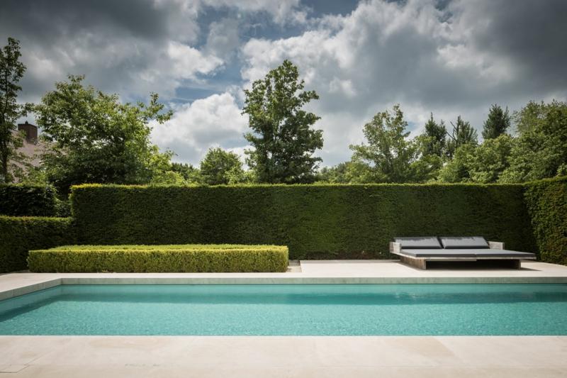 graminées autour piscine une piscine de jardin entourée de graminée