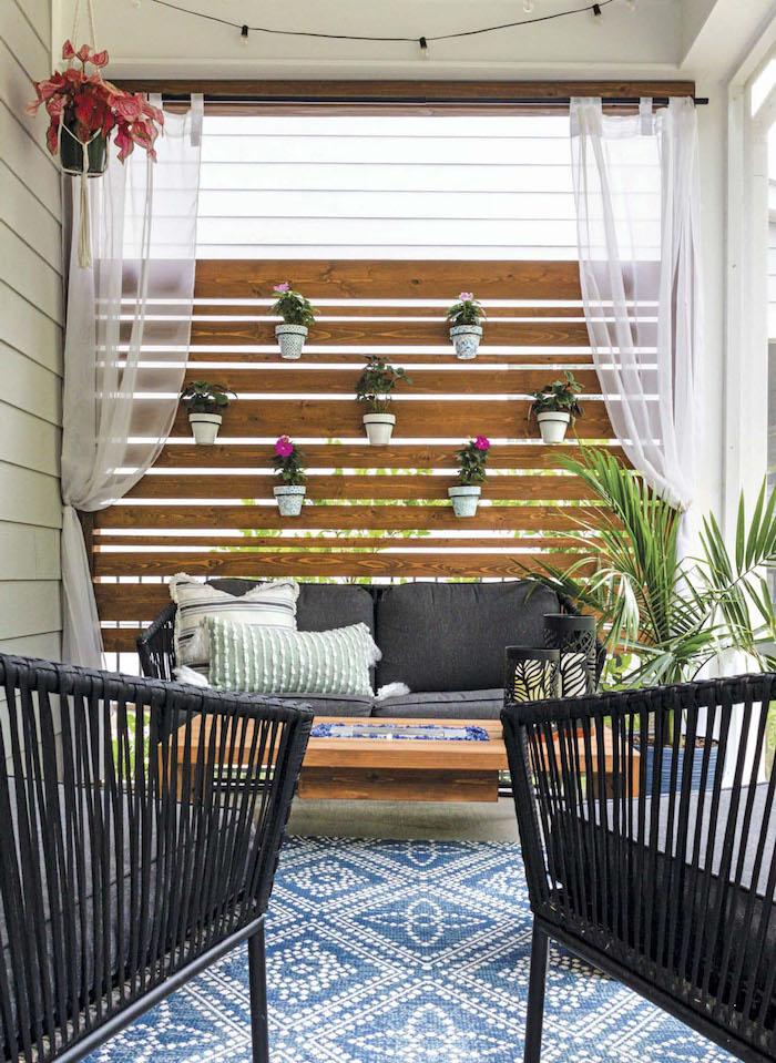 idee brisue vue terrasse en planches de palettes recyclées idee deco jardin recup