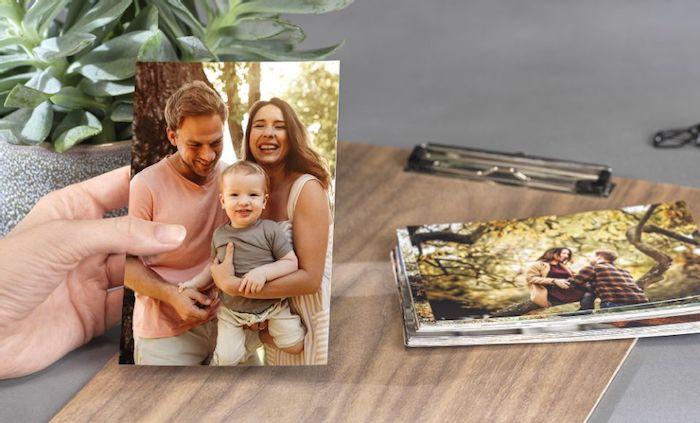 impression photo de famille série de photos sur fichier en bois plante verte comme déco