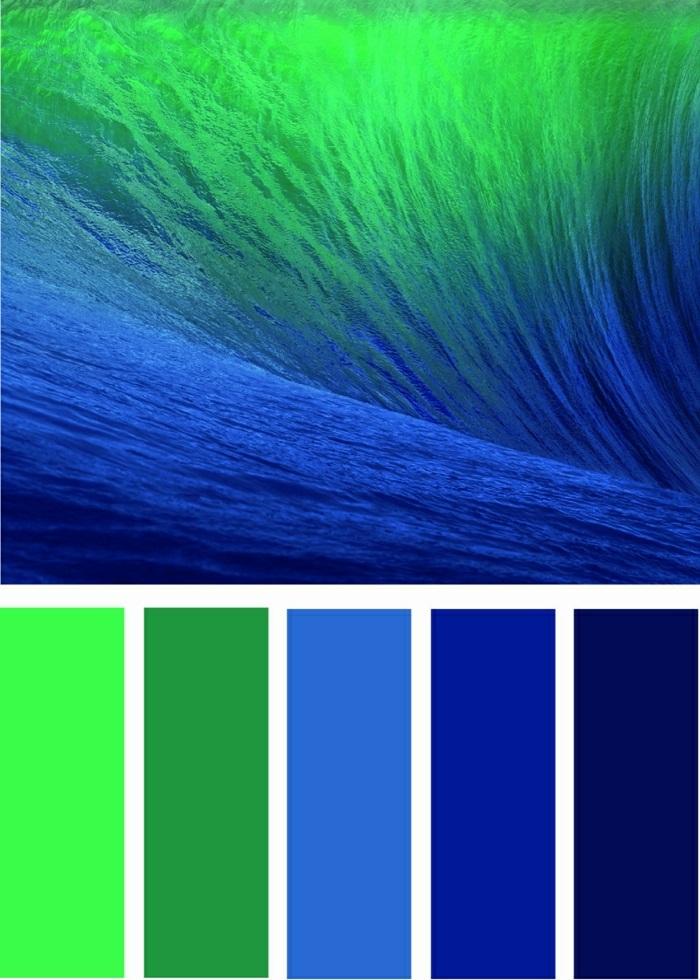 ongle vert combinaisons entre les couleurs fluo vert et bleu