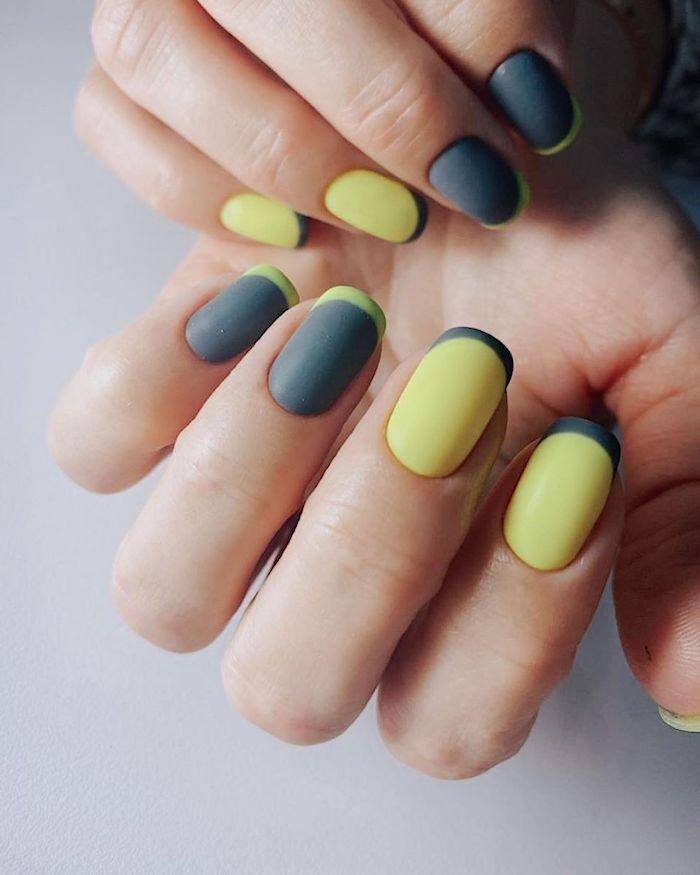 ongles courts été 2021 couleurs tendance deux mains ongles effet ombre en jaune et gris bleu