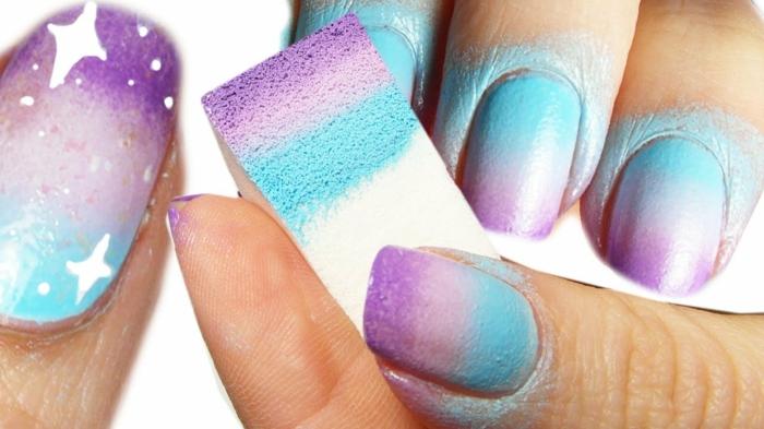 ongles fluo ongles dégradés fluo mauves et bleus