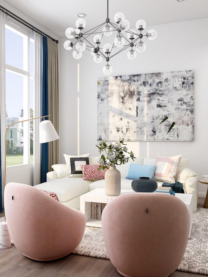 pluaieurs sources d éclairage dans un salon design lampadaire laiton marbre original et supension lustre créatif