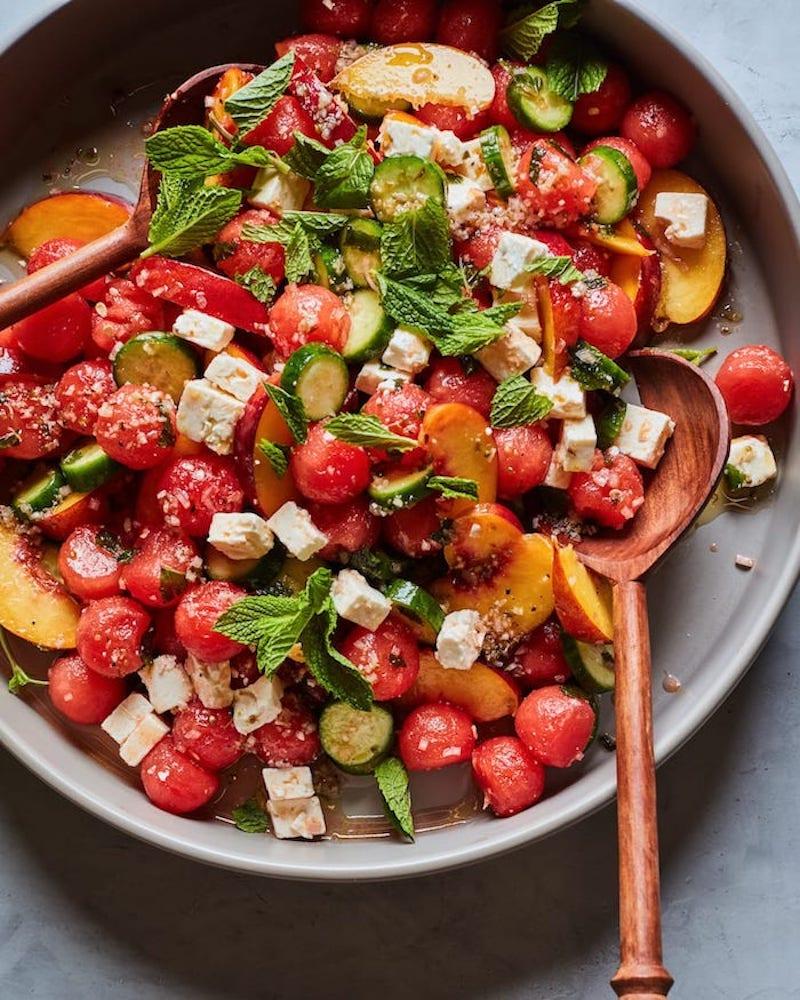 recette de salade de fruits été avec pasteque pêche concombre vinaigrette