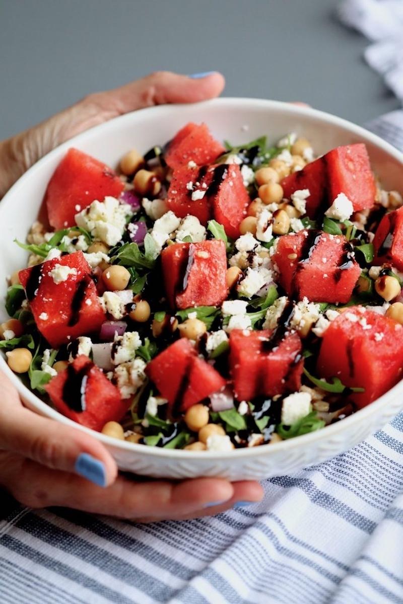 salade de roquette pois chiches feta pasteque blé salade composée d été originale