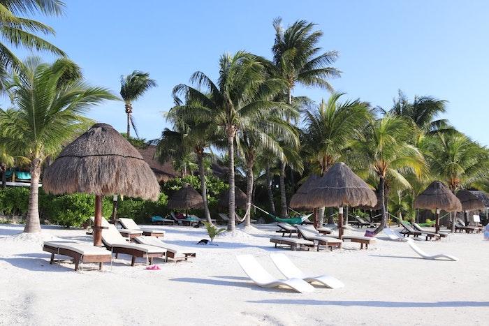voyager au mexique idée de plage avec chaise longues et parasol de paille palmiers