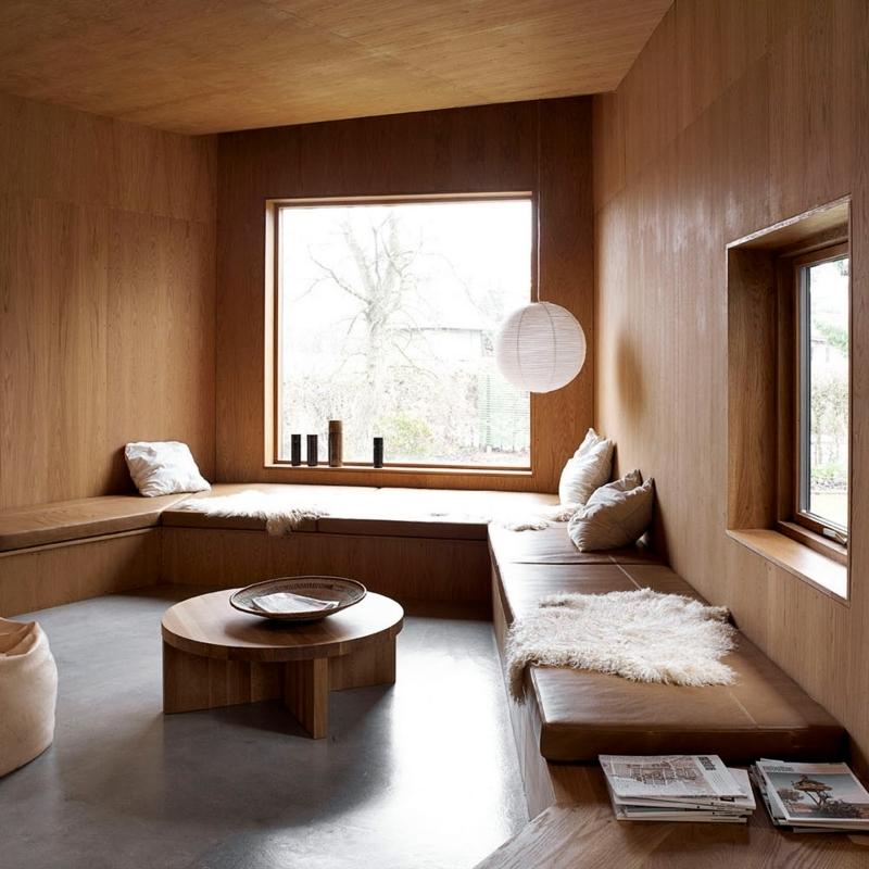 ambiance spa salon cocooning naturel revetement murs et plafond bois
