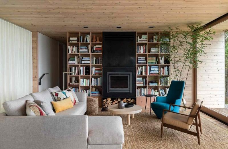 bibliothèque cheminée moderne cocooning cosy idee deco salon bois et blanc
