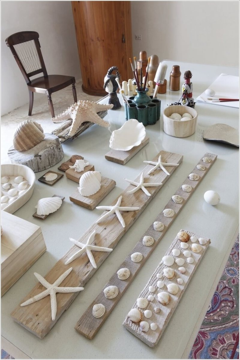 bricolage avec coquillage des objets prêts à être collés
