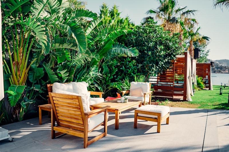 chaises de jardin coussins blancs plantes de jardin vertes