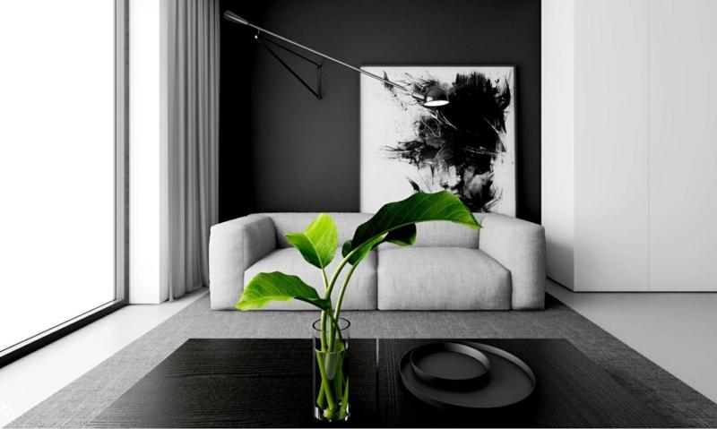 chambre grise une chambre anthracite avec une plante verte sur la table