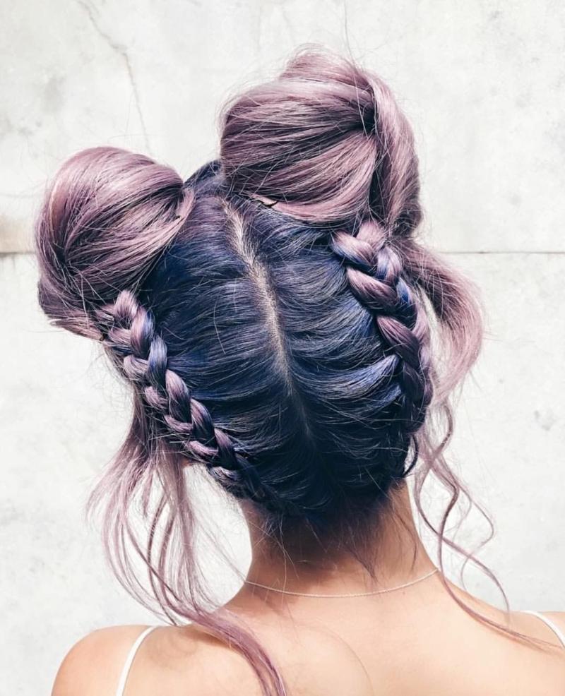 coiffure pour la rentrée ado petits pains spatiaux avec avec des tresses