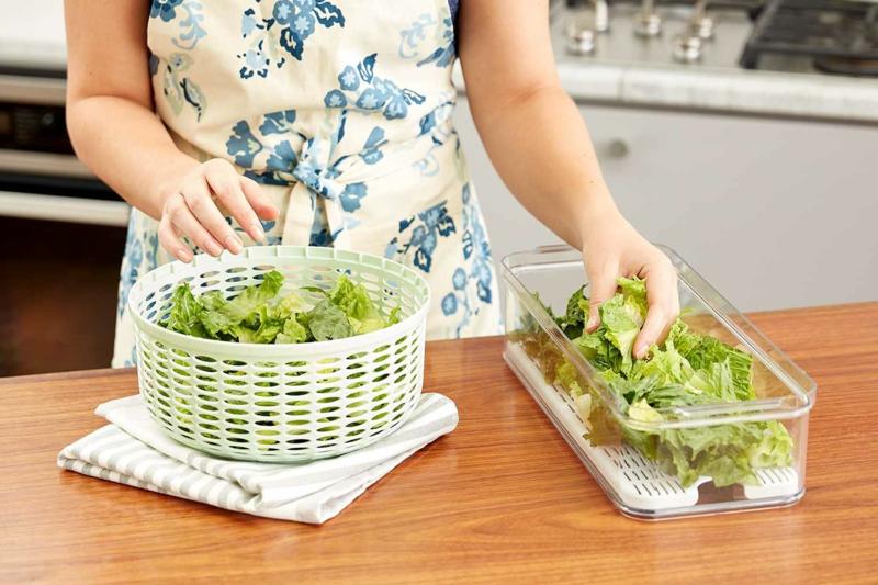 conservation salade verte essorer et conserver la salade dans un récipient scellé
