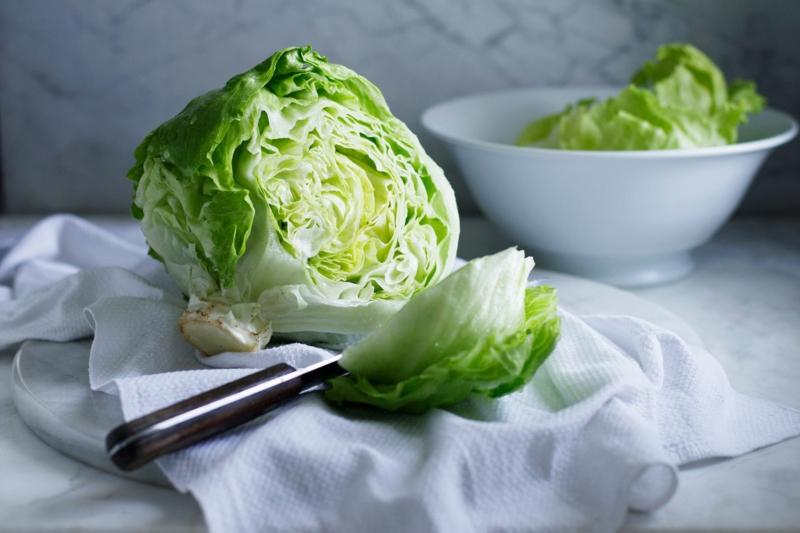 conserver salade laitue iceberg vert clair dans un bol
