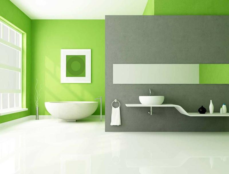 couleur qui va avec le gris salle de bain grise verte