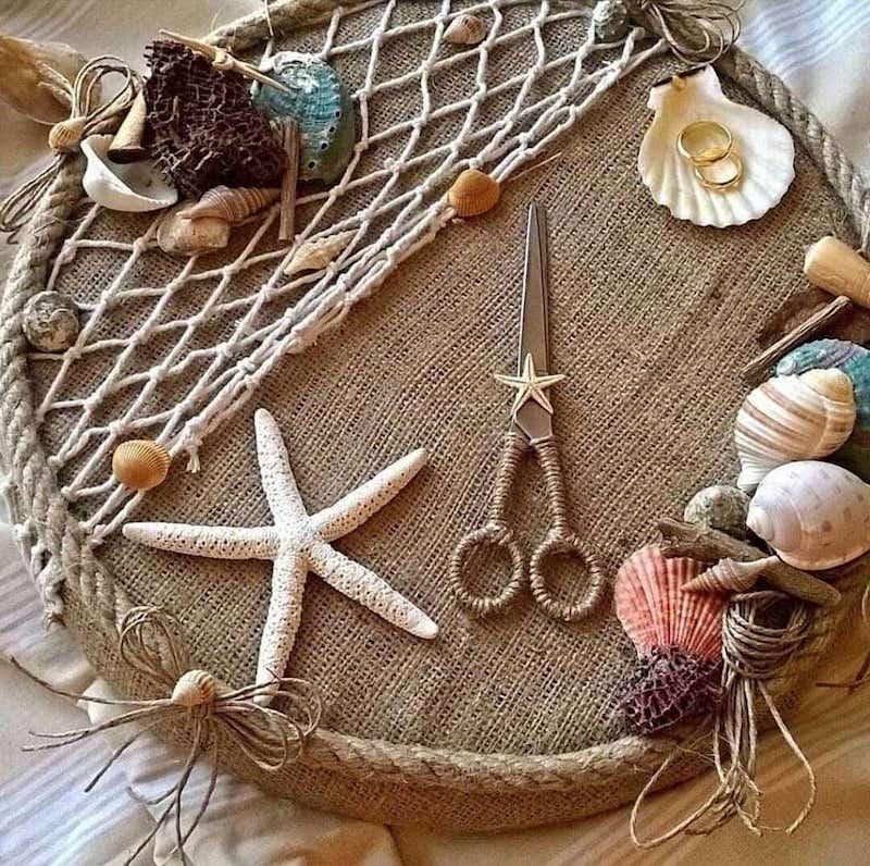 création avec des coquillages theme de mer pour mariage